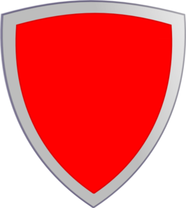 Red security shield clip. Badge clipart plain