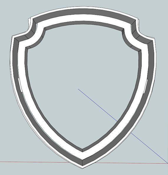 Badge clipart plain. Paw patrol cookie cutter