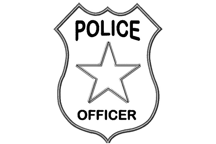 Badge clipart police officer. Policeman kind of letters