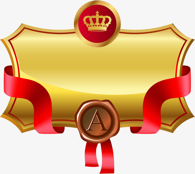 Golden atmosphere atmospheric crown. Badge clipart ribbon