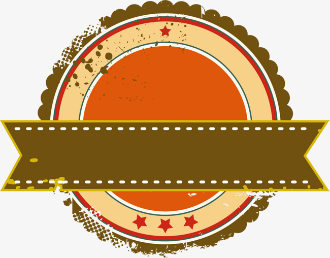 Brown coffee color medal. Badge clipart ribbon