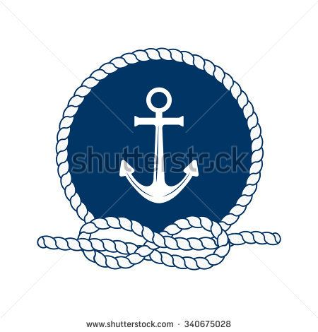 Nautical with anchor vector. Badge clipart rope