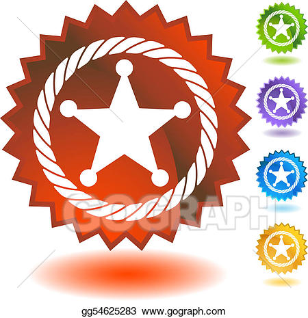 Eps vector sheriff icon. Badge clipart rope