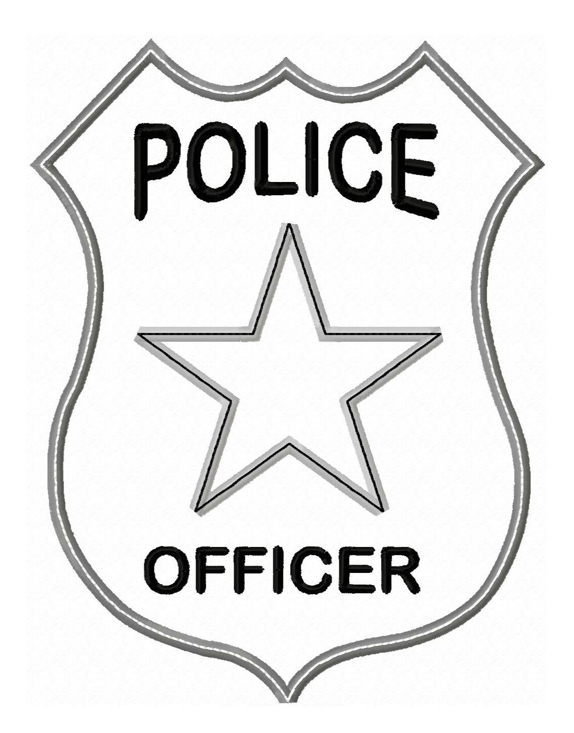 Colouring pages silhouette vinyl. Cop clipart police badge