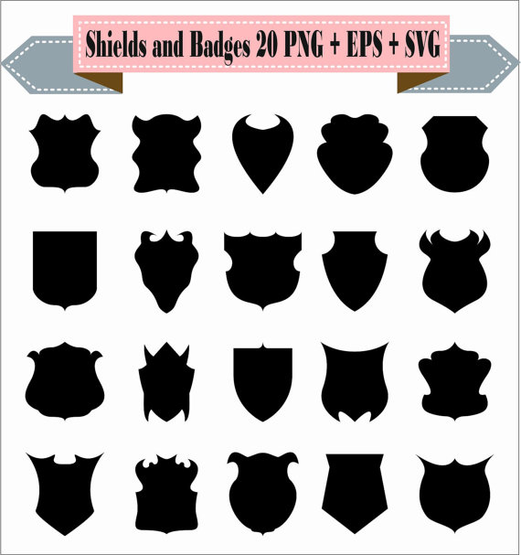 Badge clipart silhouette. Shields and badges vintage