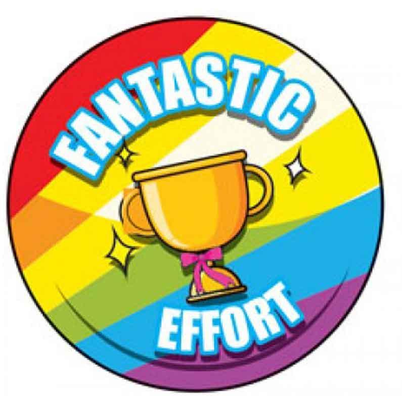 Fantastic effort stickers school. Badge clipart sticker