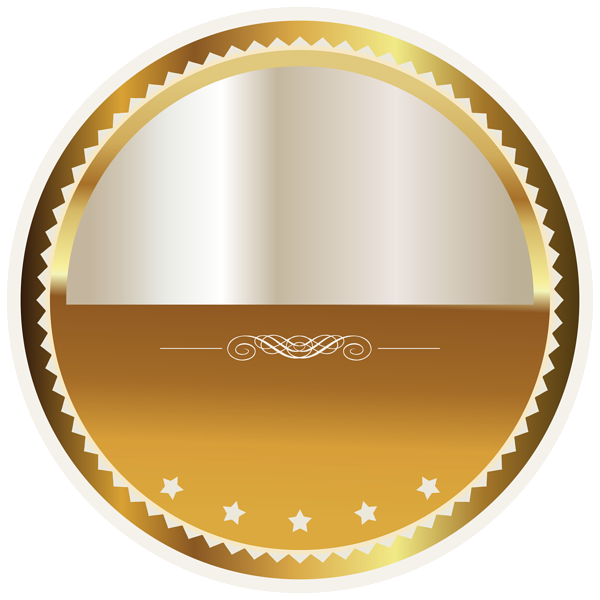 Circle clipart badge. Gold and white seal