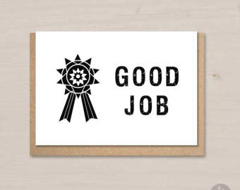 Etsy good job card. Badge clipart well done