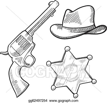 Badge clipart wild west. Vector art sheriff objects