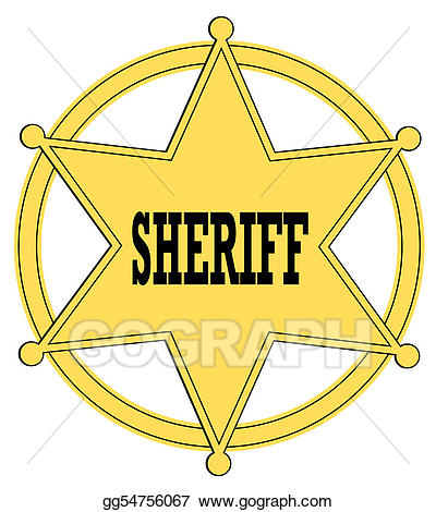 Drawing gold star sheriff. Badge clipart wild west