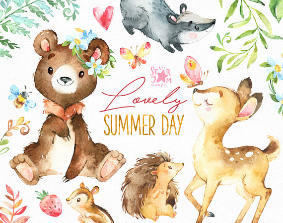 Bear clipart watercolor. Lovely summer day forest