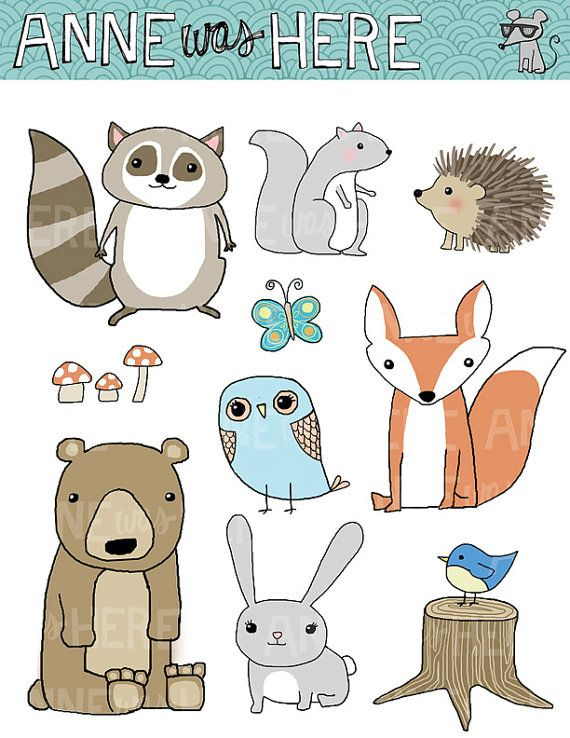 Woodland clipart kid. Critter doodles forest animal