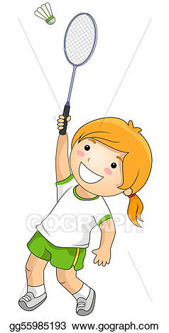 Badminton clipart badmitton. Stock illustration drawing gg