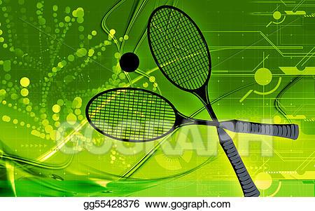 Badminton clipart ball badminton. Stock illustration drawing gg