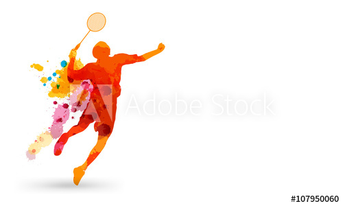 Badminton clipart jump smash. For buy this stock