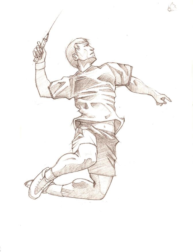 Drawing at getdrawings com. Badminton clipart jump smash