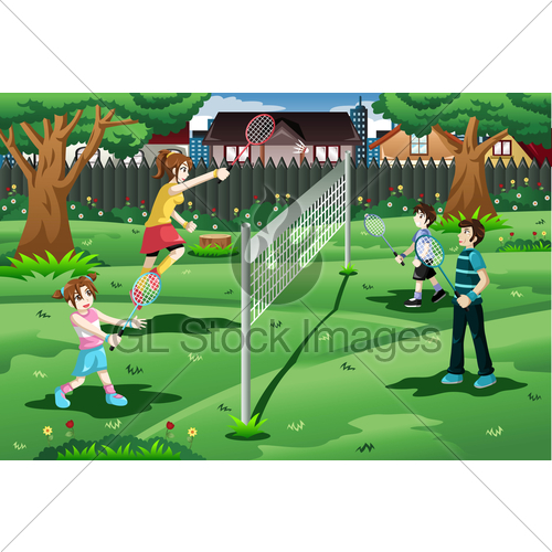 Family playing in the. Badminton clipart outdoor game badminton