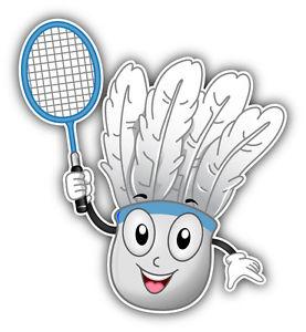 Mascot car bumper sticker. Badminton clipart shuttlecock