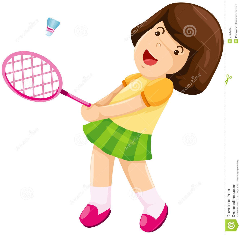 Badminton clipart sport badminton. Playing girl station