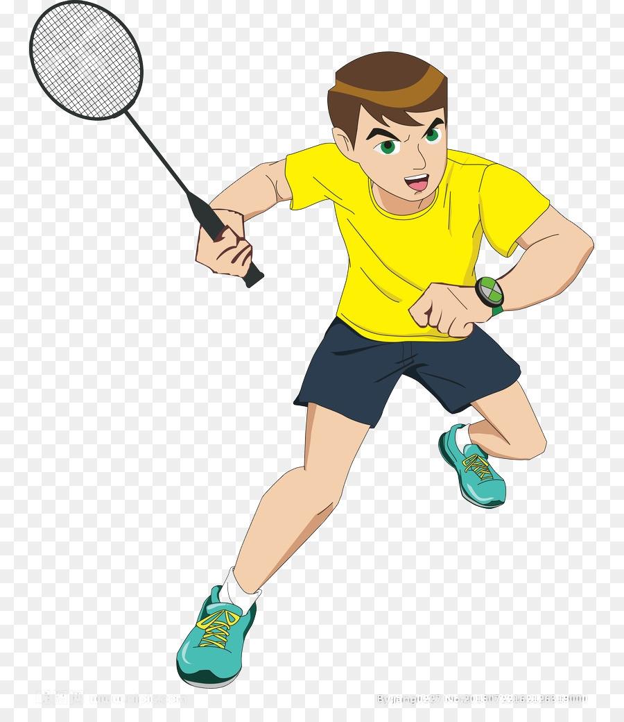 Badminton clipart tennis game. Cartoon sport teenager playing