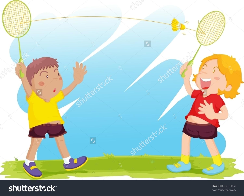 Kids playing station . Badminton clipart tennis game