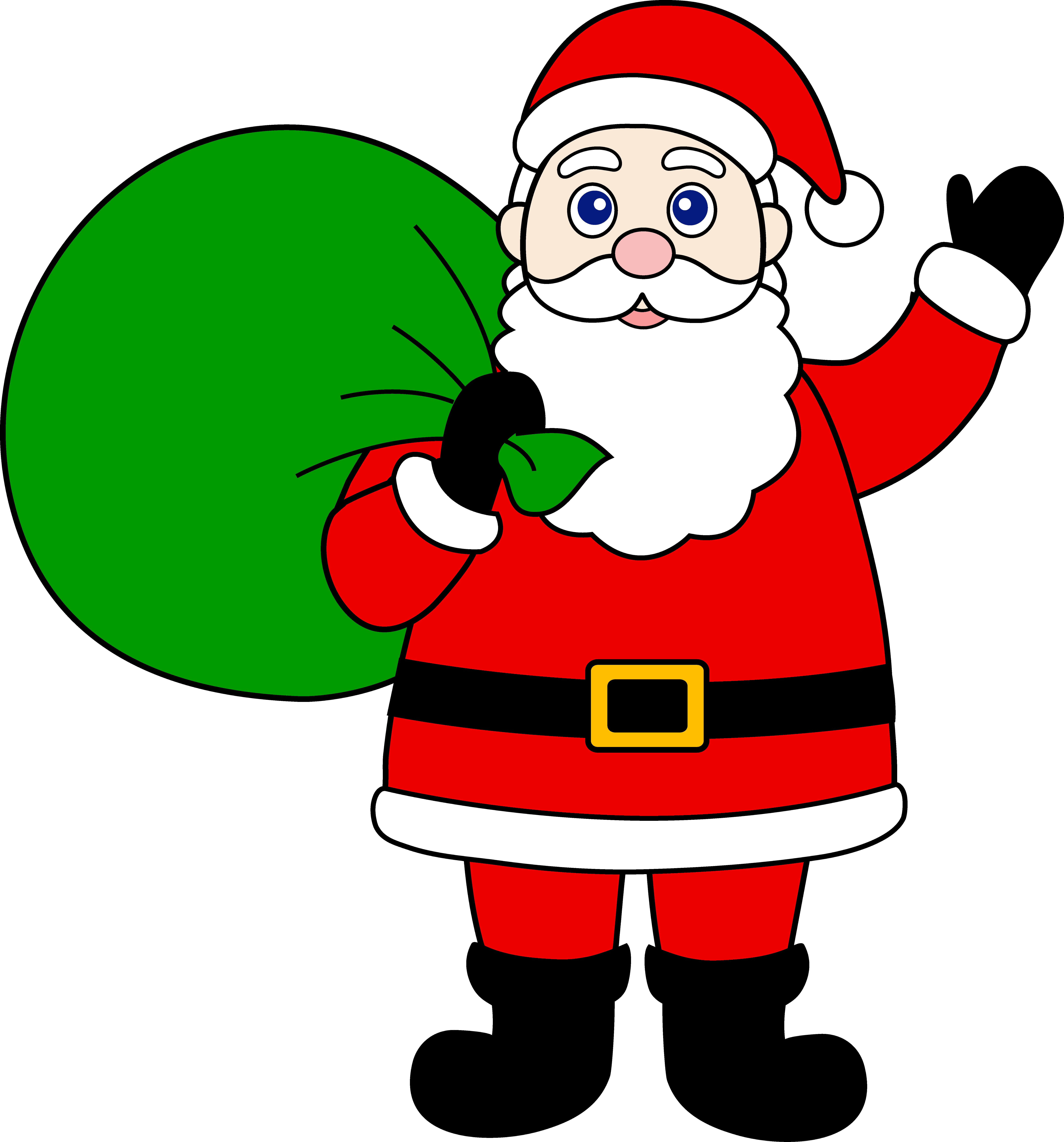 Cartoon santa claus pencil. Bag clipart animated