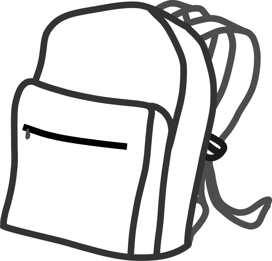 Backpack clipart easy. Free black and white