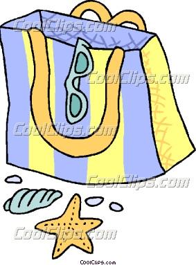 Bag clipart beach bag. Cartoon