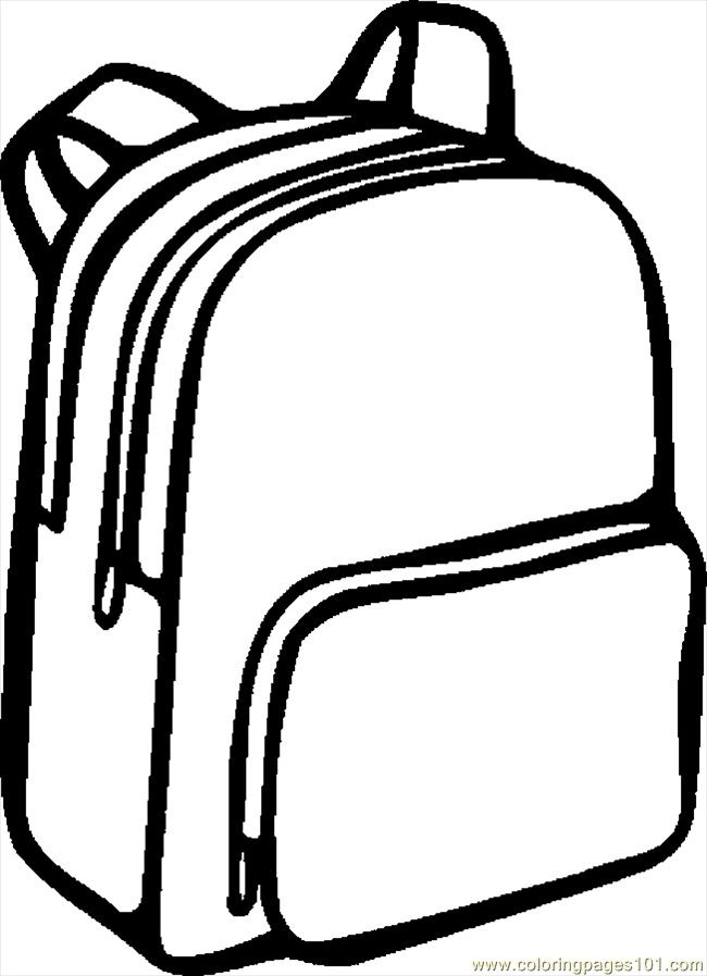 School station . Bag clipart black and white