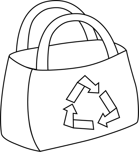 Bag clipart black and white. Eco friendly shopping clip