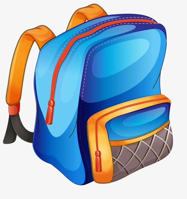 Bag clipart blue bag. School cartoon png image
