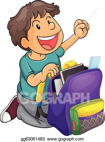Vector illustration a with. Bag clipart boy clipart