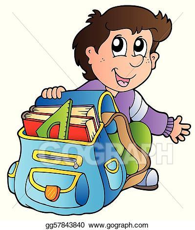 Vector art cartoon with. Luggage clipart boy
