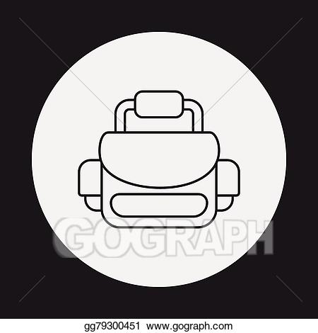 Bag clipart camera bag. Vector line icon illustration