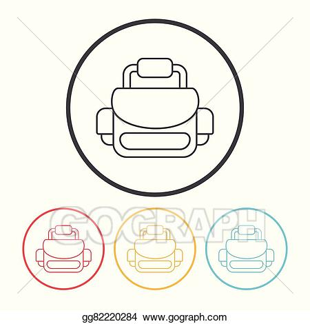 Vector line icon illustration. Bag clipart camera bag