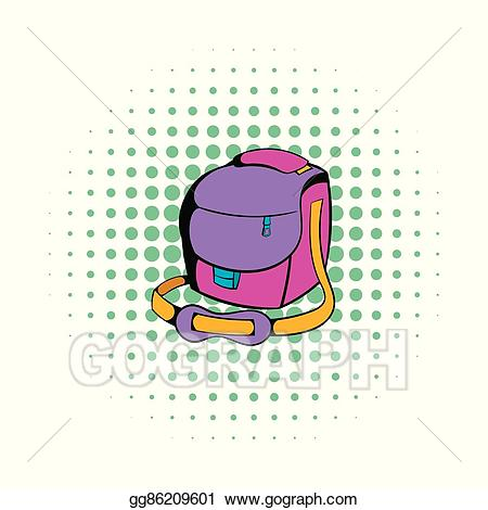 Bag clipart camera bag. Vector illustration icon comics