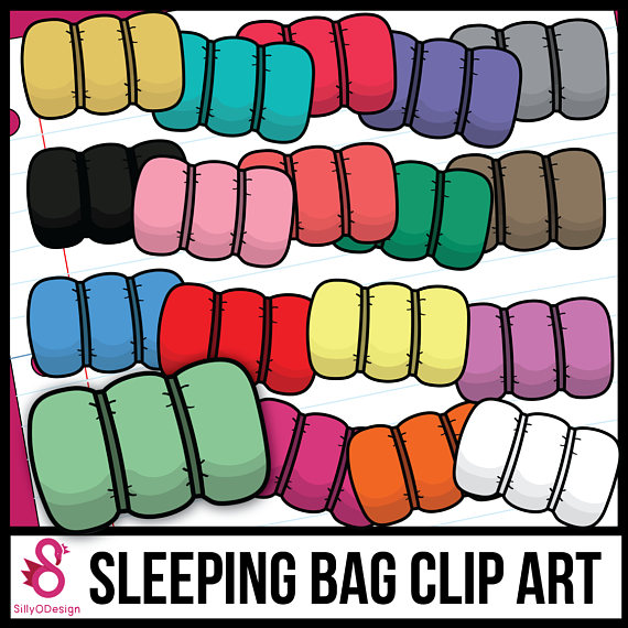 Bag clipart camp. Colorful sleeping rolled bags