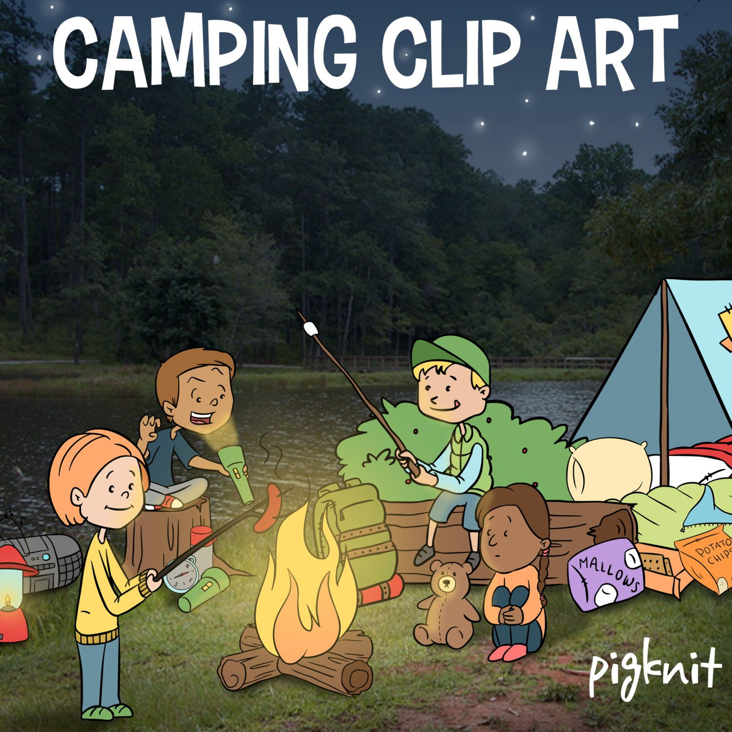 Camping clip art summer. Bag clipart camp