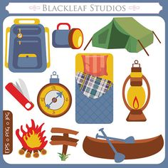 Camping digital scouts set. Campfire clipart outdoor