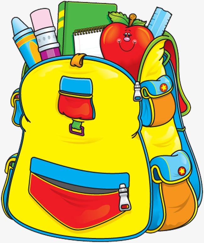 School education learning hand. Bag clipart cartoon