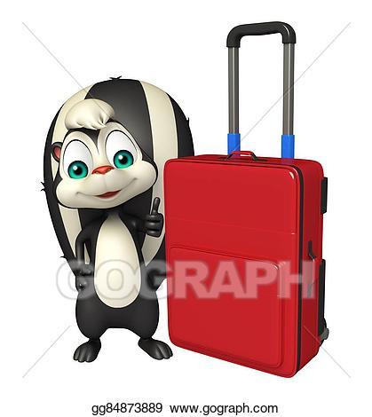 Stock illustration cute skunk. Bag clipart cartoon