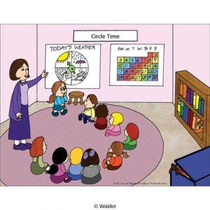 Bag clipart classroom. Scene circle time walder