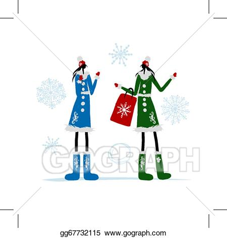 Bag clipart coat. Vector illustration girls in