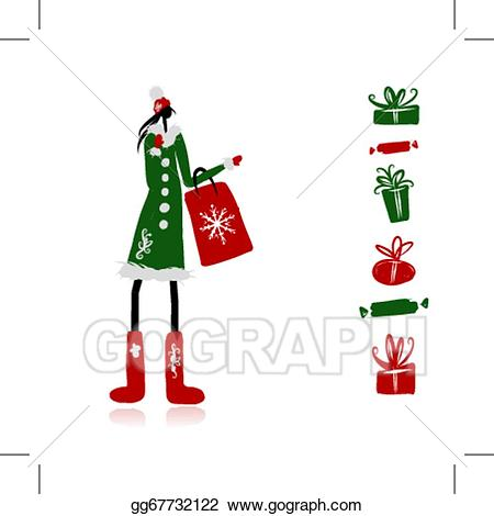 Eps illustration girl in. Bag clipart coat