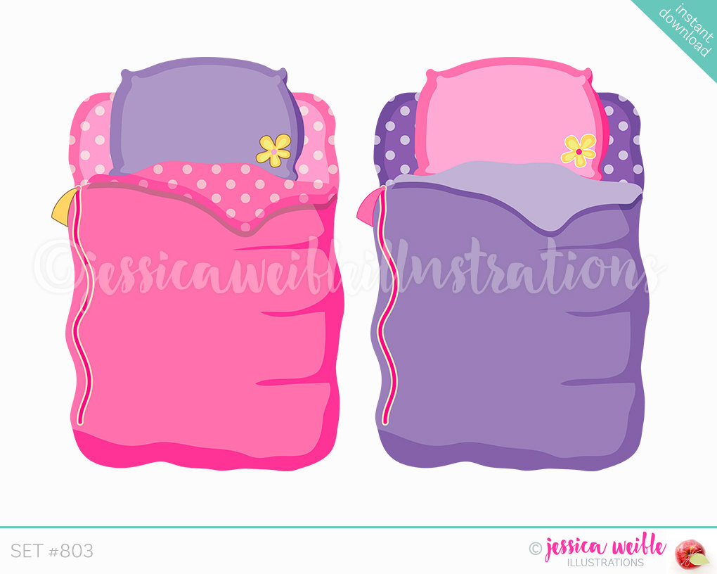 Instant download girls sleeping. Bag clipart cute