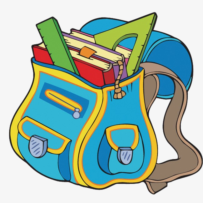 Bag clipart cute. School cartoon learning stationery