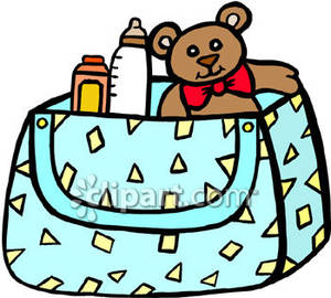 Bag clipart diaper bag. A with teddy bear