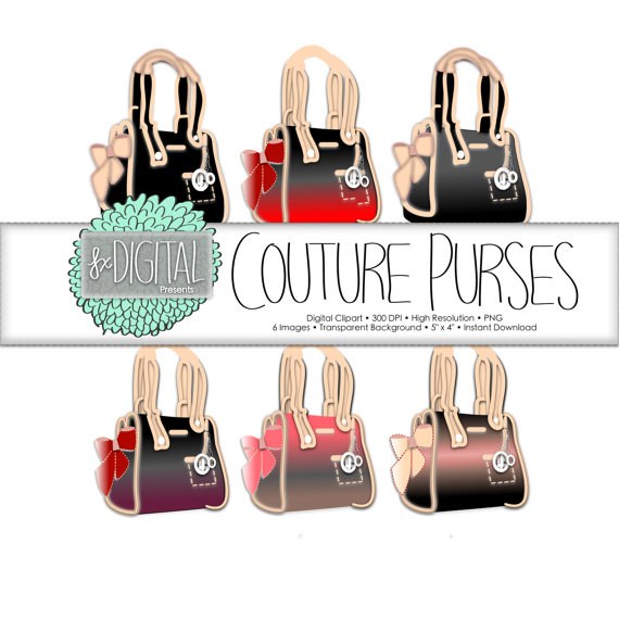 Purse clip art couture. Bag clipart diaper bag