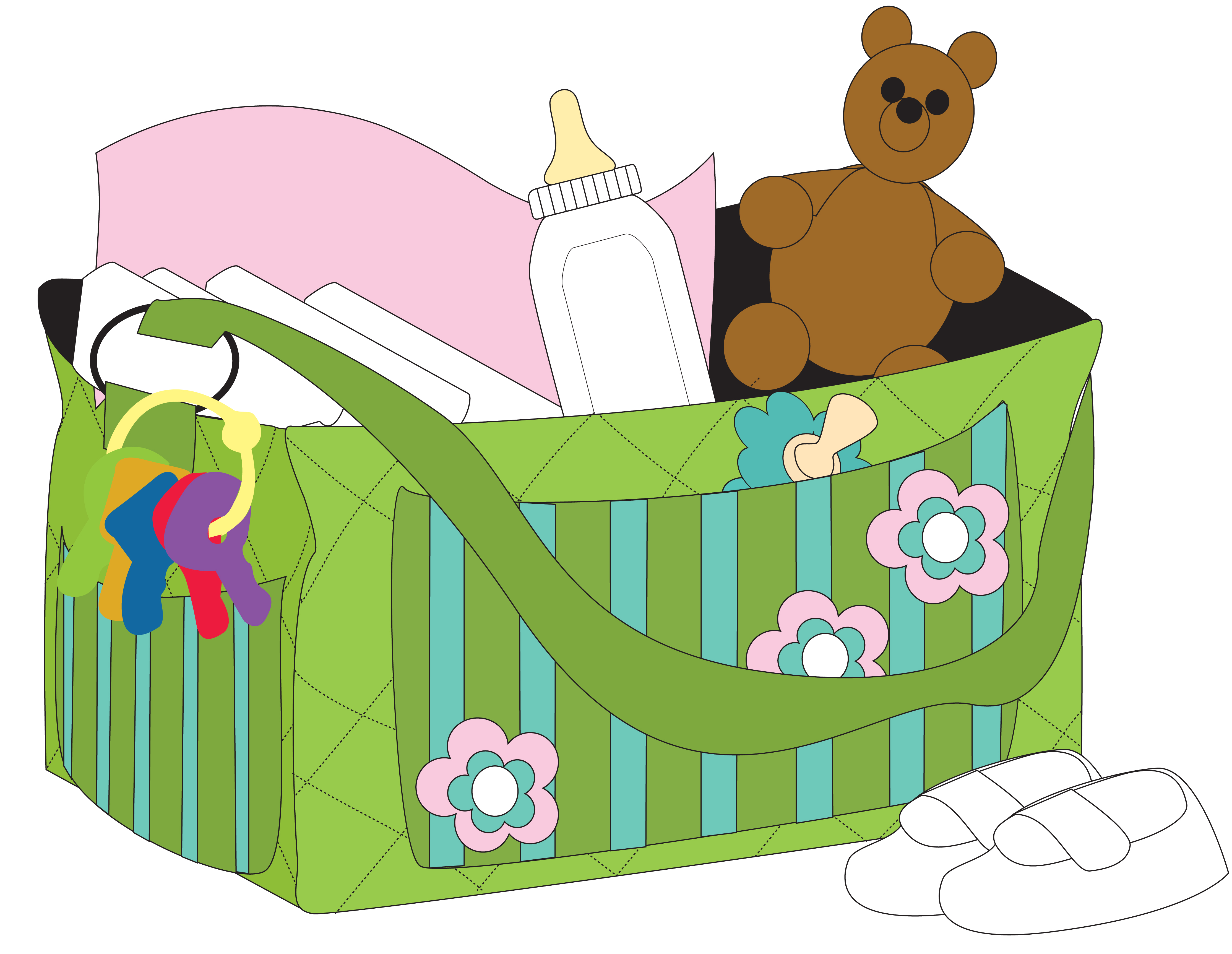Baby clip art library. Bag clipart diaper bag