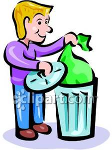 Bag clipart garbage. Man placing in can